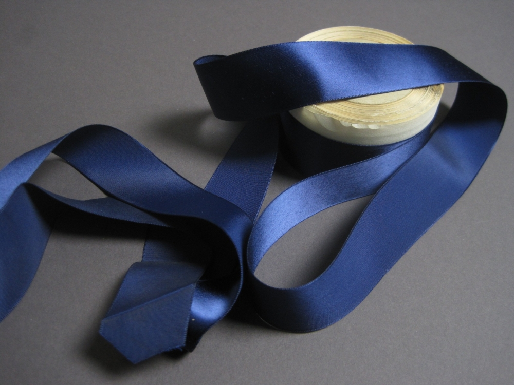 Vintage 30s Navy Blue Satin Ribbon Rayon 1 5 Inch Wide