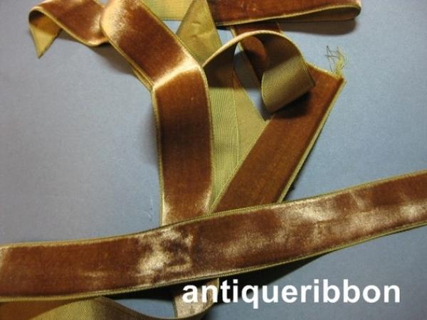 Vintage brown velvet ribbon France