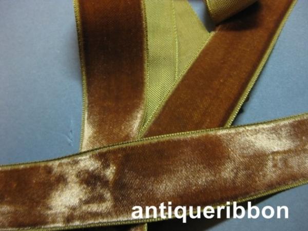 French velvet ribbon vintage brown