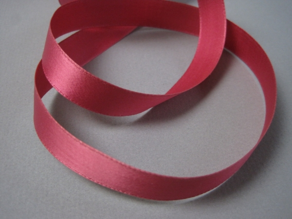 1930s old store stock dark pink satin ribbon