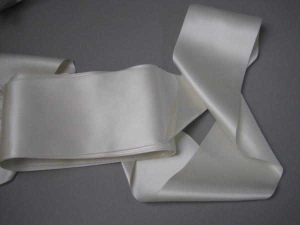 Wide white ribbon four inches