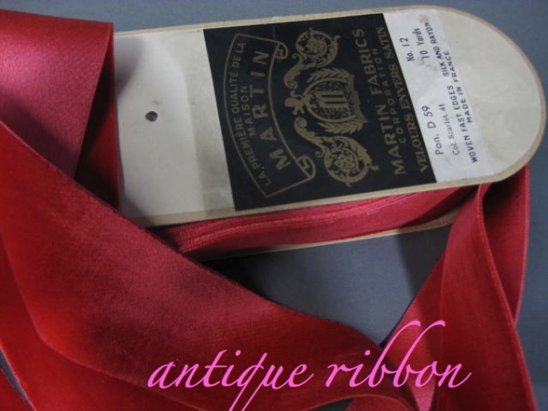 Vintage red silk velvet ribbon