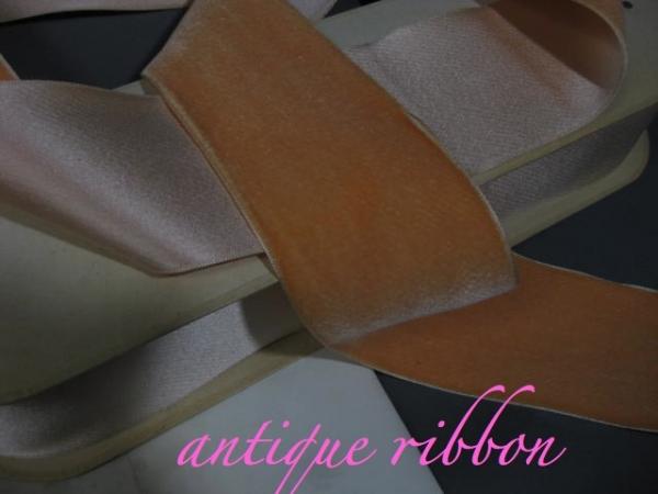 Vintage ribbon peach velvet