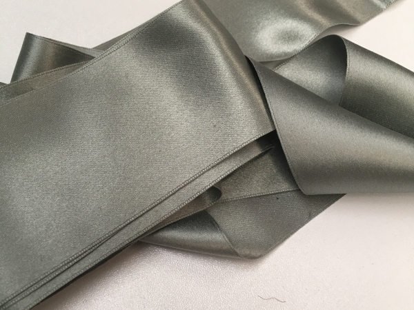 Vintage 1900s gray silk ribbon