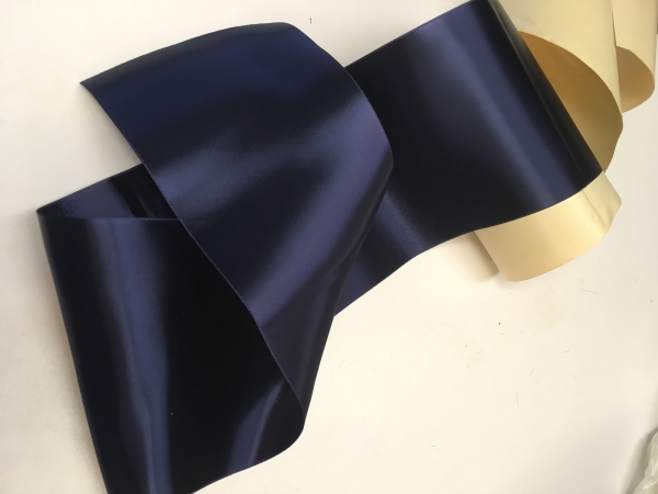 Wide navy blue satin ribbon