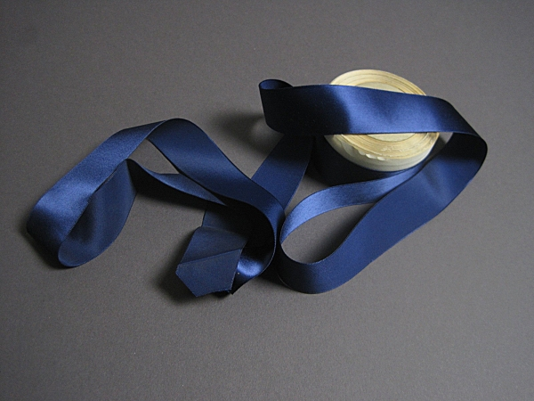 Antique navy blue rayon ribbon