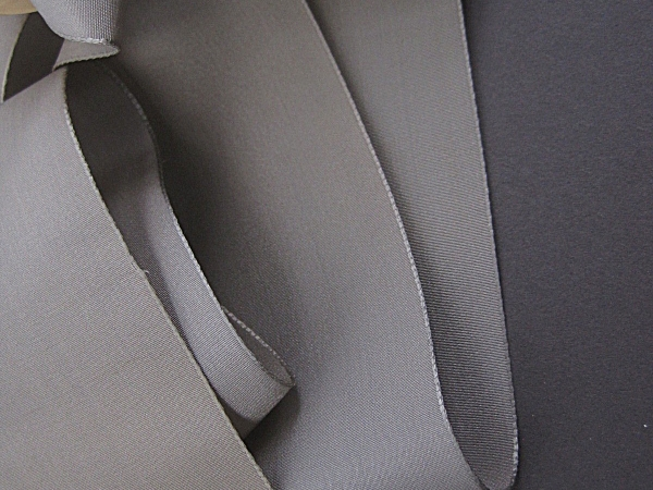 Vintage ribbon Gray silk faille