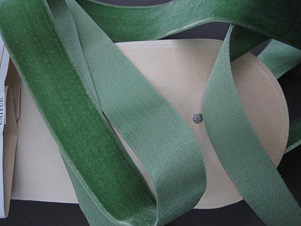 Vintage green velvet ribbon