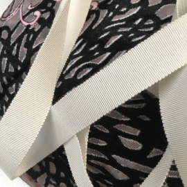 Rayon cotton white grosgrain ribbon