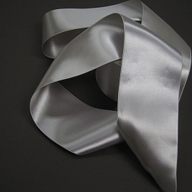 Vintage silver double sided satin ribbon
