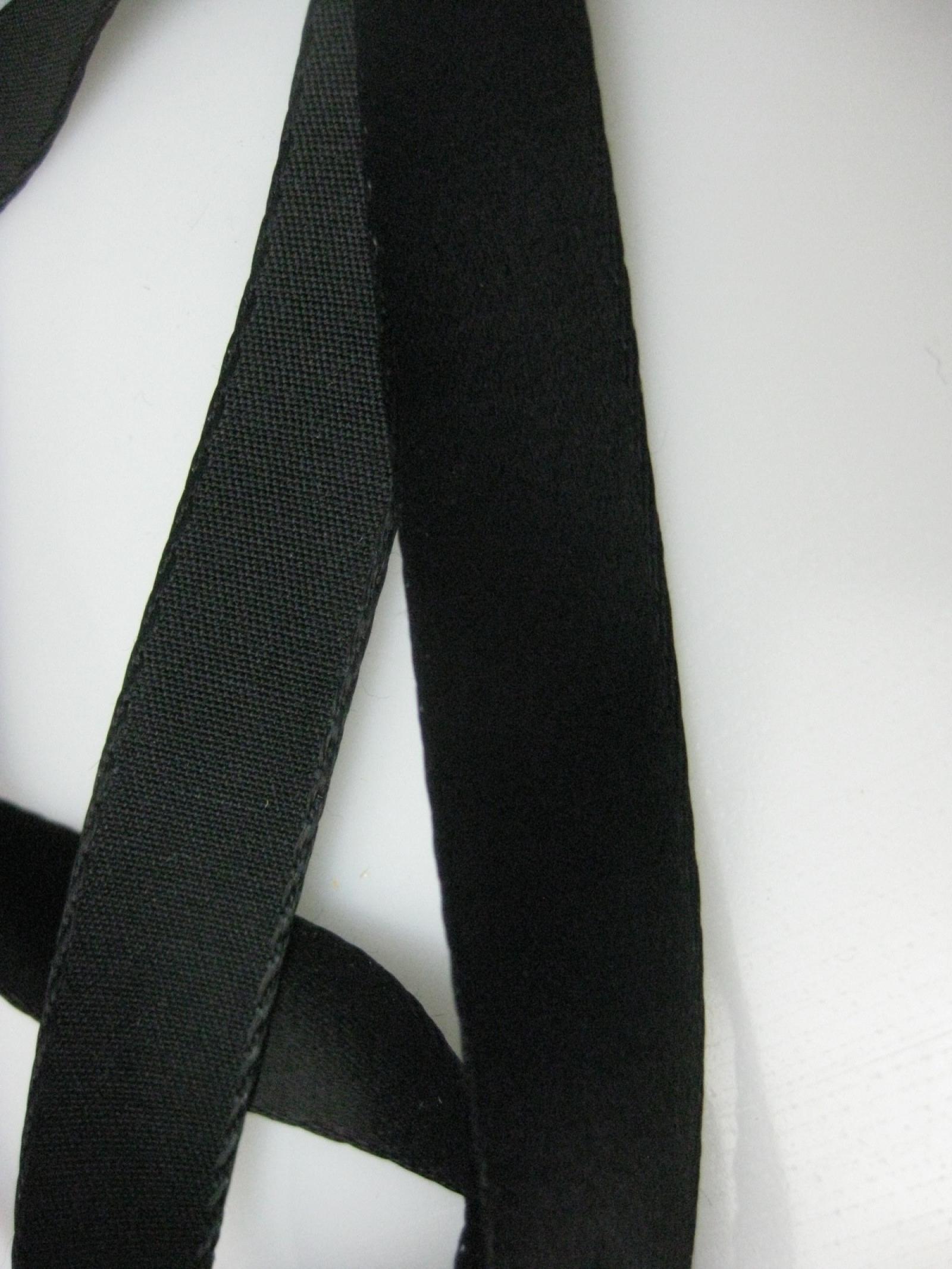 Vintage 30s French Black Satin Ribbon Cotton Back Rayon 5