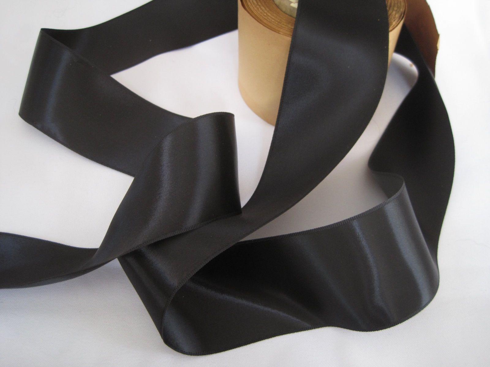 Vintage 30s Wide Black Satin Ribbon Rayon Ribbon Double