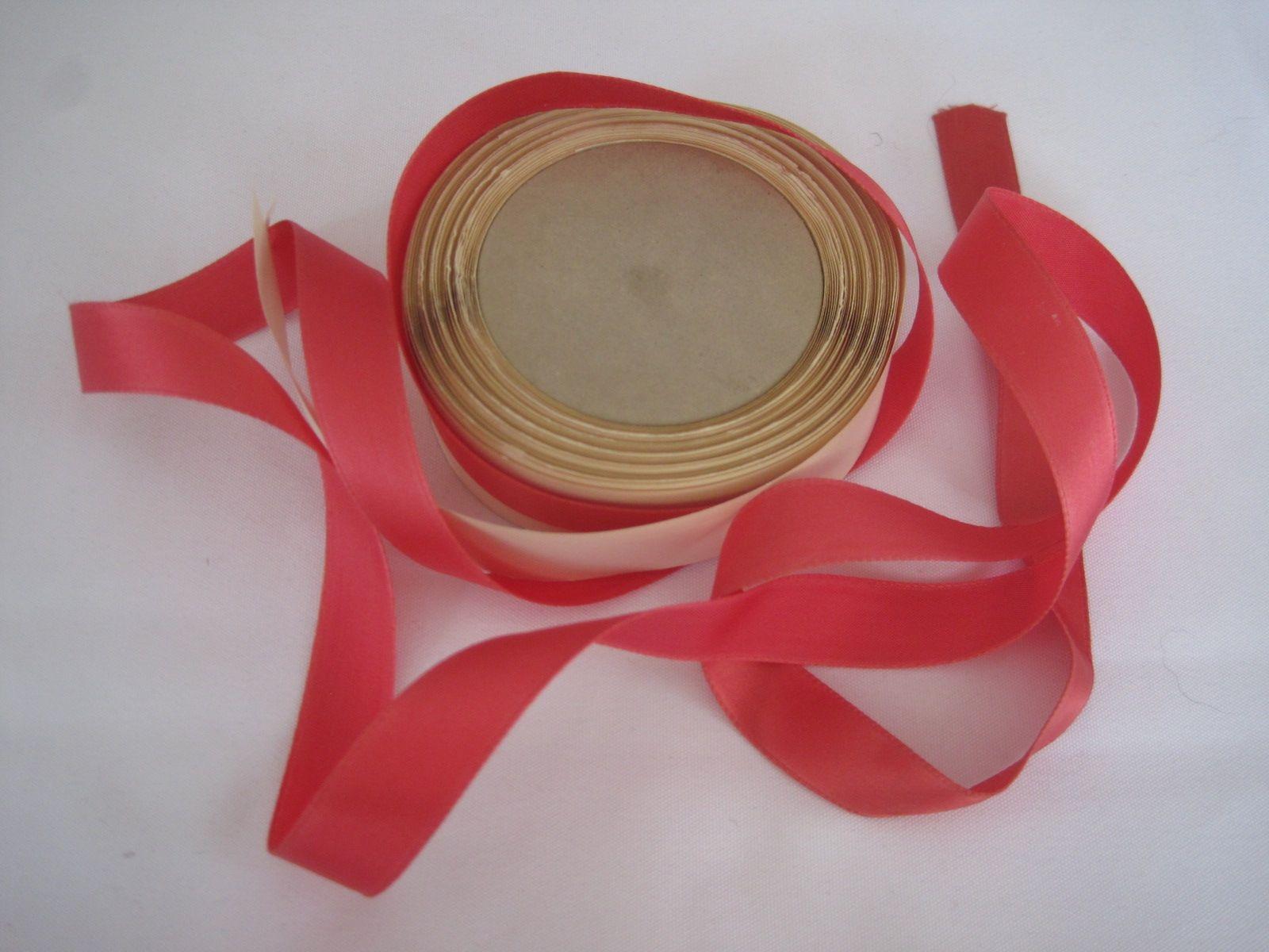 Vintage Rose Pink Fabric Ribbon Narrow Ribbon Rose Ribbon