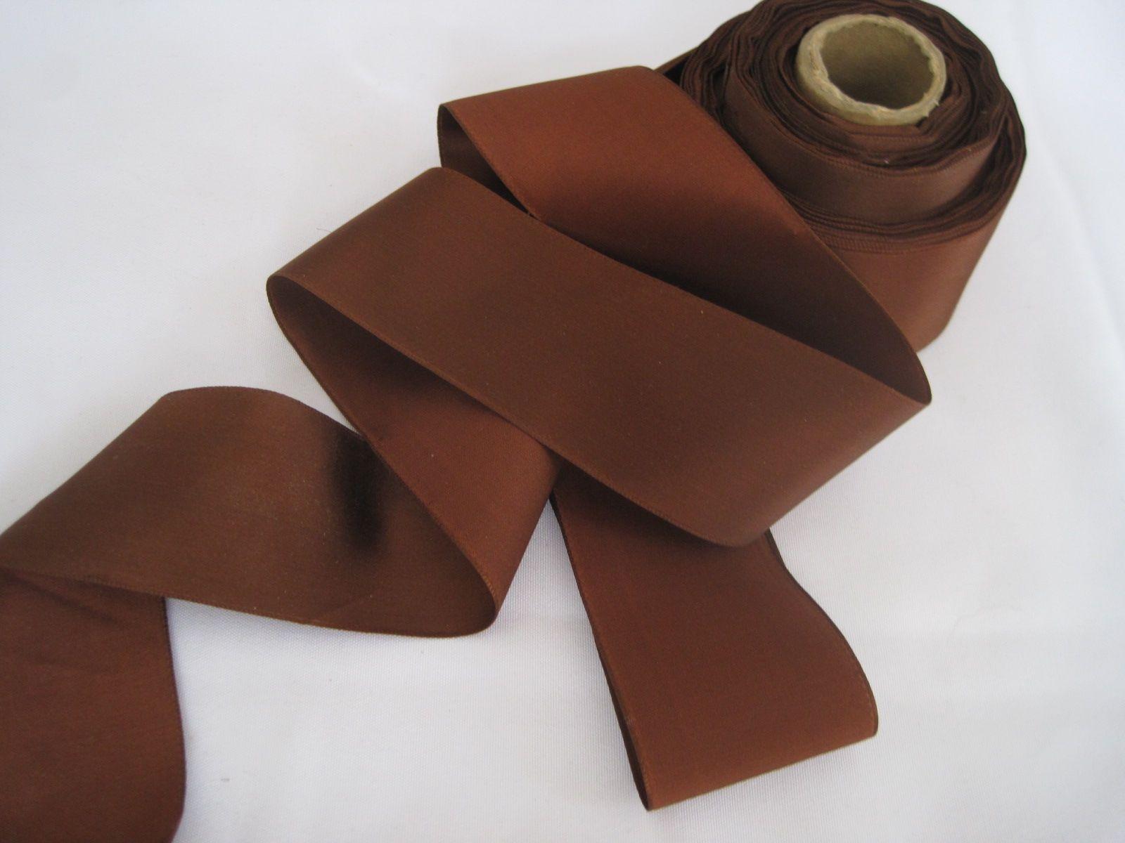 Vintage 30s Rayon Medium Brown Fabric Satin Ribbon Trim 2 Inch Wide