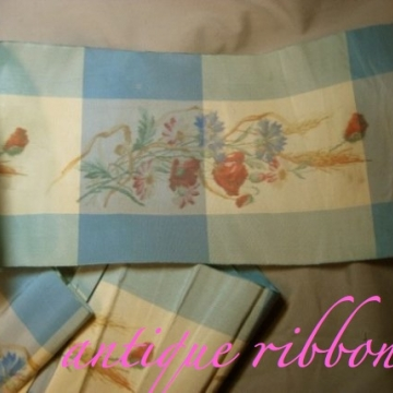 Vintage watered silk ribbon Victorian era 7 inch blue floral