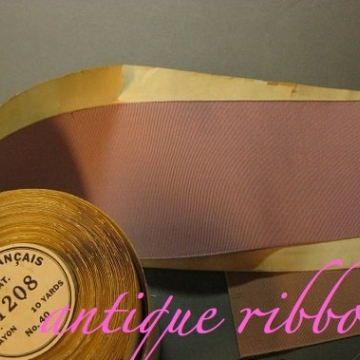 French Vintage ribbon wide rayon faille 1920s  3 in mauve