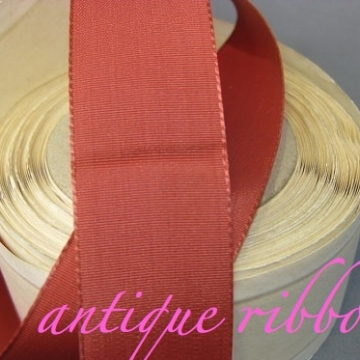 Vintage ribbon rayon 1940s 1 inch cinnamon red