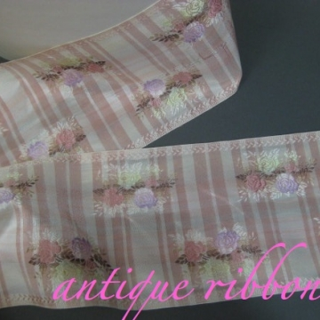 French Vintage ribbon 1930s rayon 4 1/2 in pink floral