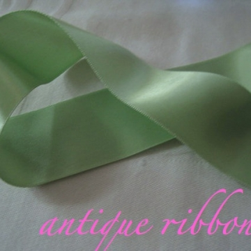Vintage green satin Ribbon Double sided polyester lime green