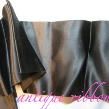 Vintage wide ribbon 1940s black satin rayon mix 4 1/2 inch wide