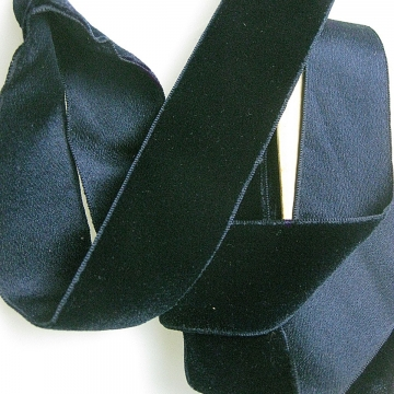 Vintage 30s Rayon cotton velvet ribbon midnight blue 1-9/16 inch wide P054