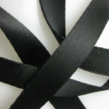 Vintage 30s French black satin ribbon cotton back rayon 5/8 inch wide P047