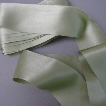 Antique Victorian silk ribbon pastel muted sage green 2 inch width P064