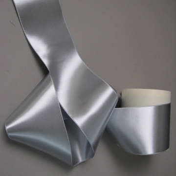 Wide silver gray ribbon double side satin high sheen rayon 3 inch width