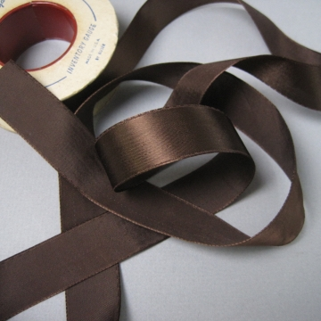 Vintage 30s brown ribbon rayon satin seven eighths inch width