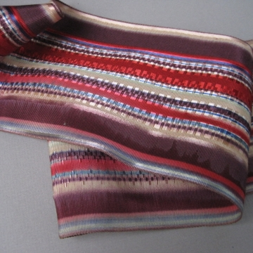 Antique Victorian wide cotton watered silk faille ribbon 4 inch