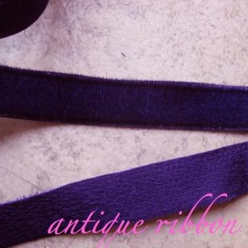 Vintage French velvet ribbon Victorian 1/2 inch purple