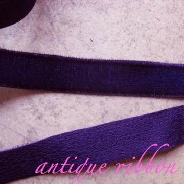 Vintage French velvet ribbon Victorian 1/2 inch purple