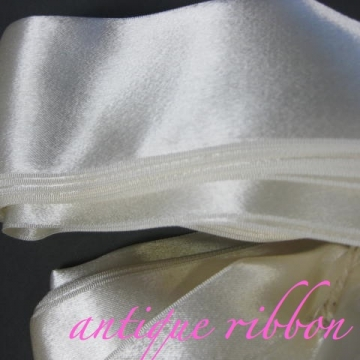 Vintage ribbon wide 1930s double sided rayon 3 1/4 inch creamy white