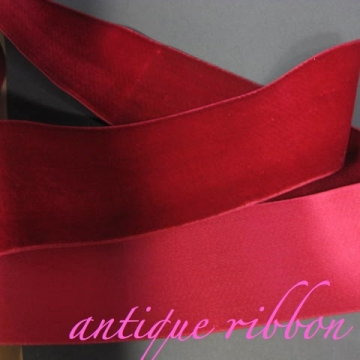 Vintage ribbon French velvet cotton w silk 2 1/4 inch Red Rasberry