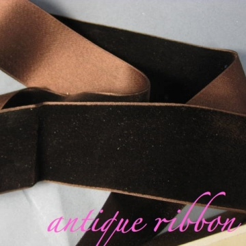 French Vintage ribbon wide silk velvet Victorian era 1 7/8 inch brown