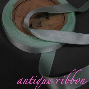Vintage French silk ribbon Victorian era 5/8 inch aqua