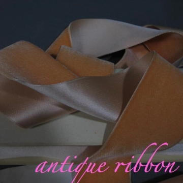 Vintage ribbon French velvet cotton w silk 2 1/4 inch peach