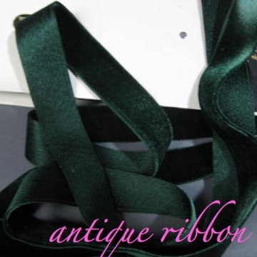 Vintage ribbon French velvet cotton w silk 5/8 inch hunter green