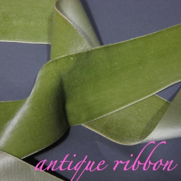 Vintage French velvet wide ribbon silk w cotton Nile Green 2 3/8 inch