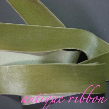 Vintage ribbon French velvet cotton w silk 1 3/8 inch nile green