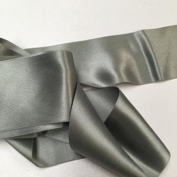 Antique 1900s Victorian silk ribbon warm gray 2 inch wide