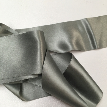 Antique 1900s Victorian silk ribbon warm gray 2 inch wide