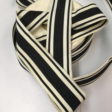 Vintage grosgrain millinery ribbon black white striped
