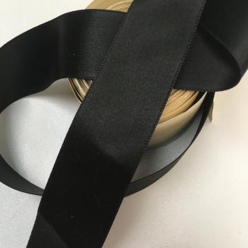 Vintage 30s black silk satin ribbon  1 3/8 inch