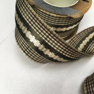 Vintage 30s  brown plaid rayon ribbon with embroidery 1.5 inch width