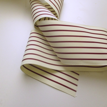 Vintage wide red striped grosgrain ribbon 3 inch W