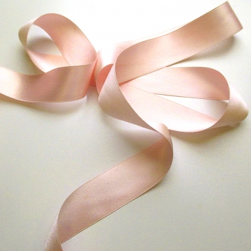 Antique 1900s Victorian silk ribbon pastel pink 1 inch W