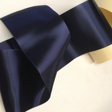 Vintage wide blue ribbon double sided satin rayon 5 3/4 inch