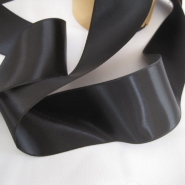 Vintage 30s wide black ribbon Double sided satin ribbon All rayon ribbon fabric ribbon Millinery ribbon sash ribbon 2 inch