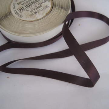 Vintage 50s Double Face satin ribbon Nylon Narrow 3/8 inch Prune purple